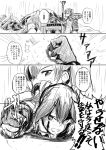 2girls blood blood_on_face clenched_hand comic flight_deck gloves hair_ribbon highres japanese_clothes kaga_(kantai_collection) kantai_collection ken_hayasaka long_hair monochrome multiple_girls partly_fingerless_gloves rain ribbon side_ponytail tears translation_request twintails zuikaku_(kantai_collection)