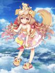 1girl animal animal_ears animal_on_head armband bangs bare_shoulders blue_sky blush byulzzimon clouds cloudy_sky commentary_request diving_mask_on_head dog dog_ears dog_girl dog_on_head dog_tail eyebrows_visible_through_hair flower flower_ornament food frilled_swimsuit frills full_body hair_between_eyes hair_flower hair_ornament holding holding_food innertube long_hair looking_at_viewer on_head orange_swimsuit parted_lips paws pink_eyes popsicle sandals shironeko_project sky solo standing swimsuit tail very_long_hair watermelon_bar
