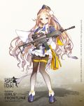 1girl ak5_(girls_frontline) assault_rifle black_legwear black_skirt blonde_hair blue_jacket blush braid centipede_(whale2011) character_name copyright_name forehead frilled_skirt frills full_body garrison_cap girls_frontline gun hair_ornament hat highres holding holding_gun holding_weapon jacket long_hair looking_at_viewer military military_uniform pantyhose parted_lips puffy_sleeves rifle ringlets shadow side_braid skirt solo standing tsurime uniform very_long_hair watermark wavy_hair weapon web_address x_hair_ornament