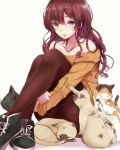 1girl :3 bare_shoulders black_legwear blue_eyes brown_hair cat cat_teaser earrings eyebrows_visible_through_hair highres ichinose_shiki idolmaster idolmaster_cinderella_girls jewelry long_hair looking_at_viewer off-shoulder_sweater pantyhose ryuu. sitting solo sweater too_many too_many_cats wavy_hair