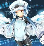 1girl blue_hair bodysuit cabbie_hat gauntlets hair_ornament hat highres looking_at_viewer neptune_(series) next_white power_symbol red_eyes shin_jigen_game_neptune_vii short_hair_with_long_locks sidelocks symbol-shaped_pupils white_heart wings