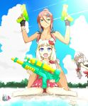 3girls ahagon_umiko beach bikini blue_eyes brown_hair clouds crab day fingerless_gloves flower glasses gloves gun hair_flower hair_ornament hazuki_shizuku hibiscus highres kizeminato long_hair multiple_girls new_game! outdoors sakura_nene seashell shell side-tie_bikini smile starfish super_soaker swimsuit toy_gun water water_gun weapon white_bikini