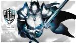 1boy armor cape character_name cropped_torso facing_viewer fantasy full_armor gauntlets gem helmet holding holding_sword holding_weapon horned_helmet horocca logo official_style overlord_(maruyama) pauldrons plate_armor solo sword touch_me warrior weapon
