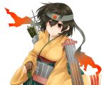 1girl arrow breasts brown_eyes brown_gloves brown_hair flight_deck gloves headband hiryuu_(kantai_collection) holding holding_arrow japanese_clothes kantai_collection kimono large_breasts long_sleeves one_side_up quiver remodel_(kantai_collection) simple_background solo suna_kiririto upper_body white_background wide_sleeves yellow_kimono