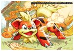 2011 downscaled growlithe md5_mismatch official_art pokemon pokemon_(creature) pokemon_(game) pokemon_trading_card_game resized saitou_naoki solo trading_card watermark