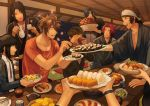 6+boys ^_^ aburaage bandanna black_hair bowl brown_hair chopsticks closed_eyes corn doudanuki_masakuni eating egg eyepatch food japanese_clothes jinkichi jirou_tachi male_focus multiple_boys mutsu-no-kami_yoshiyuki namazuo_toushirou onigiri open_mouth otegine out_of_frame petals plate redhead shokudaikiri_mitsutada smile sushi table tokkuri tonbokiri_(touken_ranbu) touken_ranbu