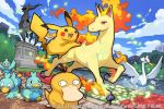 2015 arceus ducklett image_sample official_art pikachu pokemon pokemon_(creature) pokemon_(game) pokemon_trading_card_game psyduck rapidash saitou_naoki swanna trading_card twitter_sample watermark