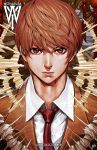 1boy artist_name brown_eyes brown_hair ceasar_ian_muyuela death_note expressionless highres male_focus neck necktie signature solo watermark web_address yagami_light
