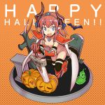 1girl armor armored_boots bat bikini bikini_armor black_legwear blue_eyes blue_ribbon blush boots breasts broadsword cape capelet choker curled_horns elizabeth_bathory_(brave)_(fate) fate/grand_order fate_(series) hair_ribbon halloween happy_halloween highres horns jack-o'-lantern knee_boots lancer_(fate/extra_ccc) long_hair looking_at_viewer navel open_mouth oversized_clothes pauldrons pink_hair pointy_ears pumpkin red_bikini red_footwear ribbon sen-jou shoes slime small_breasts smile soldier_(dq3) solo spiked_shoes spikes string_bikini swimsuit sword tail thigh-highs tiara two_side_up vambraces weapon white_cape