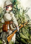 1girl ammunition army bag belt belt_pouch black_hair boots canteen forest gloves gun helmet highres japanese military military_uniform nature original rifle samazuka_mashiro short_hair soldier solo tree uniform weapon world_war_ii