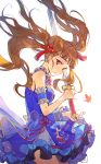 1girl absurdres brown_hair chinese_clothes double_bun dress highres holding holding_sword holding_weapon idolmaster idolmaster_cinderella_girls kamiya_nao leaf mansu maple_leaf red_eyes smile solo sword twintails weapon
