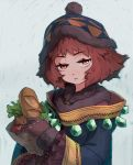 1girl bag bangs bread brown_eyes brown_gloves brown_hair closed_mouth eyebrows_visible_through_hair food fur_trim gem gloves grey_background groceries grocery_bag hat jitome long_sleeves looking_at_viewer reiesu_(reis) robe rune_master_(sekaiju) sekaiju_no_meikyuu sekaiju_no_meikyuu_4 shopping_bag short_hair solo tomato upper_body wide_sleeves winter_clothes