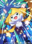 2016 image_sample jirachi no_humans official_art pokemon pokemon_(creature) pokemon_(game) pokemon_trading_card_game saitou_naoki smile solo trading_card twitter_sample watermark