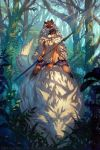 1girl 2016 animal armband artist_name black_hair boots cloak dappled_sunlight earrings forest holding holding_weapon jet_kimchrea jewelry mask mask_on_head mononoke_hime nature oversized_animal polearm riding san skirt sleeveless solo_focus spear sunlight tooth_necklace warrior weapon wolf