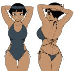 1girl arms_behind_head ass bare_shoulders black_eyes black_hair breasts butt_crack commentary_request dark_skin earrings flat_ass jewelry looking_at_viewer looking_back multiple_views nefertari_(tsukudani) one-piece_swimsuit original short_hair side-tie_swimsuit simple_background smile swimsuit tsukudani_(coke-buta) very_short_hair white_background