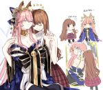 2girls animal_ears bare_shoulders bell black_legwear blush breasts brown_hair cake chibi cleavage closed_eyes commentary_request crying fate/extra fate/grand_order fate_(series) flower food fox_ears hair_ornament hand_holding highres kishinami_hakuno_(female) long_hair long_sleeves multiple_girls off_shoulder pink_hair shirt sketch sleeveless sleeveless_shirt smile star swiss_roll tamamo_(fate)_(all) tamamo_no_mae_(fate) tears thigh-highs translation_request uncle129 very_long_hair white_background white_shirt wiping_tears yellow_eyes yuri