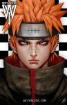 1boy artist_name ceasar_ian_muyuela checkered checkered_background ear_piercing face forehead_protector headband highres lip_piercing male_focus naruto nose_piercing orange_hair pain_(naruto) piercing portrait rinnegan signature solo violet_eyes watermark web_address