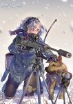 1girl absurdres artist_name bolt_action daito dog glasses gloves gun headphones highres knee_pads long_hair long_sleeves military military_uniform original pantyhose petting rifle scarf scope short_hair skirt sniper_rifle snow snowing spotting_scope suppressor tactical_clothes tongue tongue_out trigger_discipline tripod uniform weapon wind