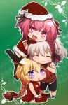 1girl 2boys 2girls :d ahoge bangs bikini black_legwear black_ribbon blonde_hair blush braid breasts chibi christmas christmas_tree christmas_tree_costume cleavage_cutout closed closed_eyes dress eyebrows_visible_through_hair fang fate/apocrypha fate_(series) from_side fur_trim garter_straps gloves hair_ornament hair_ribbon hat horn long_braid long_hair looking_at_another looking_at_viewer male_focus midriff multicolored_hair multiple_boys multiple_girls open_mouth pink_eyes pink_hair red_bikini red_dress red_gloves red_legwear red_ribbon red_shirt ribbon rider_of_black ruler_(fate/apocrypha) santa_costume santa_gloves santa_hat shirt shoes short_hair short_sleeves shorts sieg_(fate/apocrypha) silver_hair single_braid skirt smile swimsuit thigh-highs thighhighs_under_boots trap tusia two-tone_hair very_long_hair violet_eyes yaoi