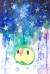 absurdres black_eyes highres kamyu_kk looking_at_viewer night night_sky no_humans pokemon pokemon_(creature) sky solo solosis star traditional_media watercolor_(medium)
