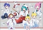 2boys 4girls :d aqua_eyes aqua_hair blonde_hair blue_eyes blue_hair brown_eyes brown_hair chibi copyright hair_bun hair_ornament hakama hakusai_(tiahszld) hatsune_miku japanese_clothes kagamine_len kagamine_rin kaito kimono long_hair looking_at_viewer megurine_luka meiko multiple_boys multiple_girls open_mouth purple_hair rabbit short_hair smile snow_bunny snowflakes violet_eyes vocaloid yuki_miku yukimi_daifuku_(food)