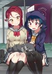 animal animal_on_lap anko_(love_live!_sunshine!!) bag bangs black_legwear blue_hair blush bow bowtie bus_stop dog double-breasted hair_ornament hairclip highres hood hooded_jacket jacket kneehighs long_sleeves love_live! love_live!_sunshine!! open_mouth petting pleated_skirt purple_jacket red_neckwear redhead sakurauchi_riko school_bag school_uniform serafuku sitting skirt smile tem10 thigh-highs tsushima_yoshiko uranohoshi_school_uniform vending_machine violet_eyes yellow_eyes yellow_neckwear