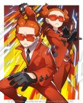 1boy 1girl 2017 necktie official_art pokemon pokemon_(game) pokemon_trading_card_game pokemon_xy redhead saitou_naoki team_flare team_flare_grunt trading_card watermark