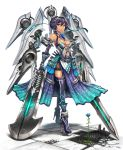 1girl bare_shoulders blue_eyes boots breasts closed_mouth dark_skin dress elbow_gloves fingerless_gloves flower frown full_body gia gloves hair_between_eyes high_heel_boots high_heels highres holding holding_sword holding_weapon looking_at_viewer machinery mecha medium_breasts navel original purple_dress purple_hair purple_legwear short_hair signature simple_background standign sword thigh-highs v-shaped_eyebrows weapon white_background
