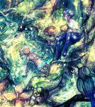 1boy 1girl ahoge bikini bikini_skirt bird black_hair blue_pants bracelet breasts butterfly closed_eyes danganronpa day forest jewelry long_hair nature new_danganronpa_v3 outdoors pants saihara_shuuichi shirt silver_hair sitting small_breasts sumimoto_ryuu swimsuit tan water white_bikini white_shirt yonaga_angie