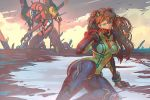 1girl blood blood_on_face blue_eyes bodysuit breasts brown_hair commentary eva_02 evangelion:_2.0_you_can_(not)_advance hairpods impaled jet_kimchrea long_hair mecha medium_breasts multicolored multicolored_bodysuit multicolored_clothes neon_genesis_evangelion orange_bodysuit pilot_suit plugsuit pool_of_blood rebuild_of_evangelion red_bodysuit skin_tight solo_focus souryuu_asuka_langley test_plugsuit