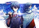 2boys ahoge blue_eyes blue_hair blue_sky bracer closed_mouth clouds cloudy_sky hair_between_eyes holding holding_dagger holding_weapon horikawa_kunihiro izumi-no-kami_kanesada jacket japanese_clothes long_hair long_sleeves looking_at_viewer multiple_boys neck_ribbon red_ribbon reverse_grip ribbon sky standing tantou touken_ranbu upper_body very_long_hair weapon yamakawa