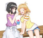 2girls bare_shoulders bench black_hair blush bow brown_hair closed_eyes denim denim_shorts etan14 feeding green_eyes hair_bow hair_ornament hairclip kohinata_miku medium_hair multiple_girls open_mouth senki_zesshou_symphogear shaved_ice shorts sitting smile spoon tachibana_hibiki_(symphogear) yuri