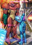 1girl ass blue_bodysuit blue_eyes blue_hair bodysuit breasts cable commentary dimples_of_venus flat_ass full_body high_ponytail highres holographic_touchscreen long_hair mechanical medium_breasts metroid nose power_armor samus_aran skin_tight solo super_metroid tekuho_no_habo toned varia_suit zero_suit