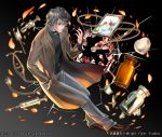 1boy bottle broken_glass brown_footwear full_body glass grey_background grey_hair grey_pants hand_in_pocket jacket jewelry kaekae looking_at_hand male_focus necklace pants photo_(object) ring_box shoumetsu_toshi_2 solo standing stethoscope syringe