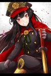 1girl black_hair black_pants demon_archer fate/grand_order fate_(series) floating_hair gloves grey_gloves grin hat headband highres holding holding_sword holding_weapon long_hair looking_at_viewer military military_hat military_uniform nanakaku pants petals red_eyes smile solo sword uniform very_long_hair weapon
