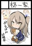 1girl bangs black_legwear black_ribbon blouse blue_blouse blue_skirt boko_(girls_und_panzer) brown_eyes chibi circle_cut commentary_request drawing eyebrows_visible_through_hair eyes_visible_through_hair full_body girls_und_panzer hair_ribbon holding holding_stuffed_animal jinguu_(4839ms) light_brown_hair long_hair long_sleeves parted_lips pleated_skirt ribbon shimada_arisu side_ponytail sitting skirt solo striped striped_legwear stuffed_animal stuffed_toy teddy_bear translated younger