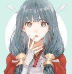 1girl blue_hair fingerless_gloves fire_emblem fire_emblem_if gloves japanese_clothes looking_at_viewer mitama_(fire_emblem_if) shourou_kanna solo star star-shaped_pupils symbol-shaped_pupils
