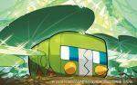 2016 blue_eyes charjabug grass image_sample leaf leaf_on_head official_art pokemon pokemon_(creature) pokemon_(game) pokemon_trading_card_game saitou_naoki solo trading_card twitter_sample water_drop watermark