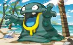 2016 alolan_grimer beach bottle can clouds grimer image_sample ocean official_art palm_tree pokemon pokemon_(game) pokemon_trading_card_game saitou_naoki sand sky trading_card tree twitter_sample watermark