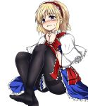 1girl alice_margatroid bangs bdsm black_legwear blonde_hair blue_eyes blue_skirt blush bondage bound bound_wrists capelet commentary_request eyebrows_visible_through_hair hairband highres isshin_(sasayamakids) knees_up no_shoes pantyhose parted_lips red_hairband red_ribbon ribbon ribbon_bondage short_hair simple_background sitting skirt solo sweatdrop tareme tears thighband_pantyhose touhou white_background