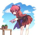 1girl bangs bare_legs blouse bow cactus cape commentary_request hair_between_eyes hair_bow isu_(is88) leaning_forward long_sleeves miniskirt plant pleated_skirt potted_plant purple_bow red_eyes red_skirt redhead sekibanki short_hair skirt smile solo table touhou wakasagihime water watering_can