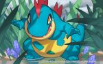 2017 croconaw official_art pokemon pokemon_(game) pokemon_trading_card_game saitou_naoki trading_card watermark