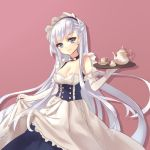 1girl apron azur_lane bare_shoulders belfast_(azur_lane) blue_eyes blush braid breasts chi_yei cleavage commentary_request dress dress_lift elbow_gloves french_braid gloves long_hair looking_at_viewer maid maid_apron maid_headdress medium_breasts silver_hair simple_background smile solo standing very_long_hair white_gloves