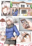 2girls ahoge baby bangs black_skirt blue_jacket breasts cellphone comic cowboy_shot day fate/grand_order fate_(series) fujimaru_ritsuka_(male) fur_trim ginhaha jacket jeanne_alter kindergarten medium_breasts miniskirt multiple_girls open_mouth parted_lips phone ruler_(fate/apocrypha) short_hair silent_comic silver_hair skirt smartphone yellow_eyes