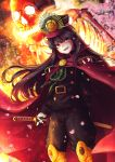 1girl :d black_hair black_hat black_pants brown_eyes cape cherry_blossoms demon_archer fate/grand_order fate_(series) floating_hair gloves hat highres holding holding_sword holding_weapon katana long_hair looking_at_viewer military military_hat military_uniform open_mouth pants red_cape saruei sheath sheathed smile solo standing sword uniform very_long_hair visor_cap weapon white_gloves