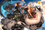 2girls 3boys aang appa arm_guards avatar:_the_last_airbender avatar_(series) bald black_hair boomerang brown_hair dark_skin element_bending everyone fighting_stance fingerless_gloves fire flying gloves katara kuroi-tsuki looking_at_viewer momo_(avatar) multiple_boys multiple_girls open_mouth riding rock saddle sokka toph_bei_fong water zuko