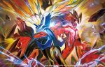 2015 blue_eyes commentary_request no_humans official_art open_mouth pokemon pokemon_(creature) pokemon_(game) pokemon_card pokemon_trading_card_game tokiya watermark xerneas yveltal