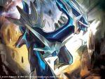 2015 commentary_request dialga no_humans official_art open_mouth pokemon pokemon_(creature) pokemon_(game) pokemon_card pokemon_trading_card_game solo tokiya watermark