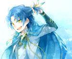 1boy blue_hair cape feathers hair_feathers male_focus noeru_(putty) open_mouth smile taikogane_sadamune touken_ranbu upper_body yellow_eyes