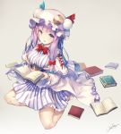 1girl artist_name bangs bare_legs blue_bow blunt_bangs book bow bowtie breasts capelet commentary_request crescent crescent_hair_ornament deecha dress eyebrows_visible_through_hair full_body hair_bow hair_ornament hat highres holding holding_book large_breasts long_sleeves looking_at_viewer mob_cap patchouli_knowledge purple_hair red_bow red_neckwear sidelocks signature simple_background sitting solo striped striped_dress touhou violet_eyes white_hat